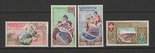 Royaume du Laos 4 timbres non oblitérés 1958 Palais de l'UNESCO /T2712
