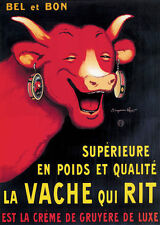 French Vache qui Rit - Laughing Cow Cheese - Metal Sign Plaque