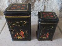 Lot 2 anciennes boite métal Biscuits Bonbons Japon candy vintage antique