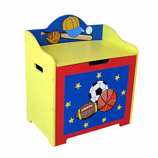 SPORTS CHILDRENS TOY BOX, KIDS STORAGE BOX, STORAGE BIN, BENCH SEAT