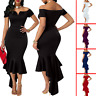 Sexy Women Off Shoulder Short Sleeve Mermaid Dress Bodycon Evening Cocktail Prom