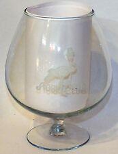 STORK CLUB MEMORABILIA GLASS BRANDY SNIFTER WITH APPLIED WHITE STORK LOGO
