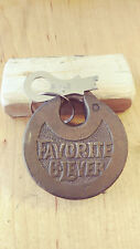 vintage/antique eagle favorite 6 lever  push key pancake padlock w/key  27w8