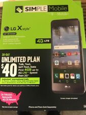 SIMPLE Mobile - LG X Style 4G LTE with 8GB Memory Prepaid Cell Phone - Black