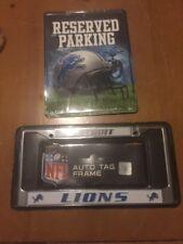 Detroit Lions Reserved Parking Sign PSM2401 & License Plate Frame FC2404