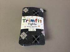 NWT Girl's Trimfit Cotton/Spandex Tights Size 6-8 Oxford Heather w/ Design #126R