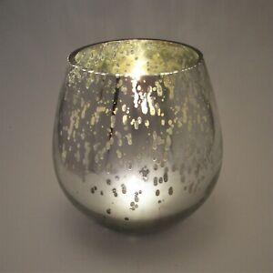"Mercury Glass Style Fish Bowl Candle Holder 7"" Metalic Silver Tone Splatter Vase"