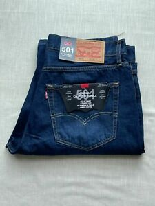 LEVIS 501 Straight fit Dark Blue Denim Gift  factory outlet Brand New