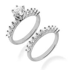 1.96 carat Engagement Round Diamond Ring & Band Bridal Set 14k Gold 100% Natural