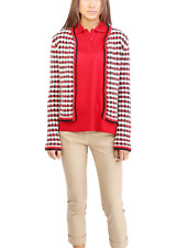 NWT MONCLER Wool Mohair Blend Tweed Red Cardigan, Xsmall/Small