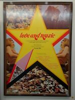 LOVE AND MUSIC ORIGINAL 1971 MUSEUM FRAMED POSTER PINK FLOYD THE BYRDS T. REX