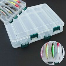 Double Sided 12 Compartment Fishing Lures Tackle Hooks Baits Storage Box Plastic