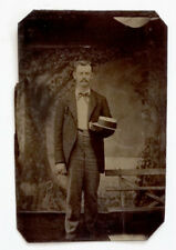 ANTIQUE Vintage FANCY MAN & STRAW BOATER HAT Tintype Photograph / GAY INTEREST