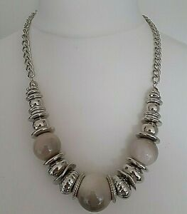 """Saloos Silver Tone Grey Beaded Chunky Statement Necklace Length 25"""" - 27"""" Approx"""
