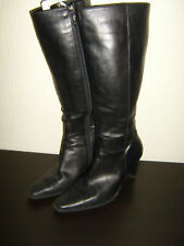 duo size eur 38 black leather zip up knee high boots - 3.5 inch heels