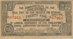 Currency Japan Philippines Emergency 1942 WWII  Note 25 Centavos Circulated Poor