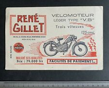 Buvard Vélomoteur René Gillet   «Léger Type V.B»/ Montrouge / Motul / Blotter