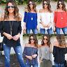 Fashion Women's Off Shoulder Tops Long Sleeve Shirt Chiffon Casual Loose Blouse