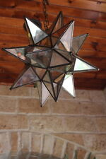 """Moravian  star 13.5"""" clear/ antique glass star with ceiling canopy"""