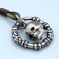 Women Men Punk Mens Silver Skull Hoop Genuine Leather Rope Necklace Pendant