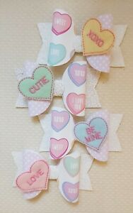 Love Heart candy inspired hair bow clip 4.5 inch