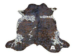 Blue Dyed Acid Washed COWHIDE RUG – Size: 7'x 6' Ft – Premium Cow Hide Rug