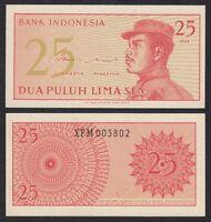 Indonesia 25 Sen  1964 Pick 93  SC = UNC