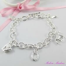 925SP Horse Lovers Charm Bracelet with 5 Charms and Toggle Clasp 21cm