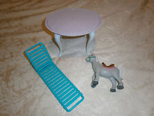 BARBIE TABLE, DECK CHAIR AND HORSE