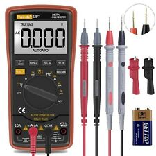 Auto Ranging Digital Multimeter Trms 6000 With Battery Alligator Clips Test L