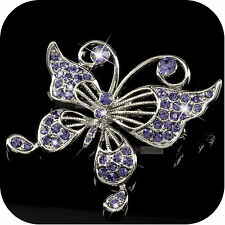 swarovski crystal butterfly luxury brooch purple 18k white gold gp made with