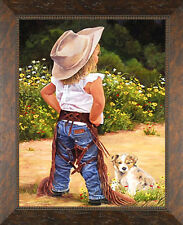Boss Lady June Dudley Children Western Solid Wood Framed Print Pictures