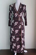 UK 12 R BODEN Wrap Dress Soft Jersey Brown Black Ivory (262)