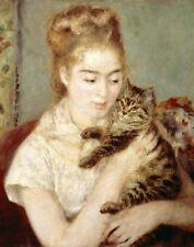 "Pierre-Auguste Renoir, ""Woman with a Cat"" Image Size:16""h x 12.625""w"