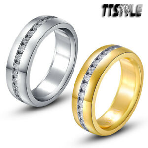 TTstyle 6mm Stainless Steel Eternity Wedding Band Ring With Cubic Zirconia