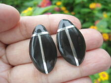 Vintage Sterling Silver TAXCO Natural ONYX Inlay 13g Post Earring ChunKy Bold