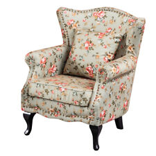 Flower Pattern Accent Chair Wingback Side Armchair Sofa Fabric Upholstered Seat