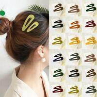 2Pcs/Set Women Acrylic Hair Clips Snap Barrette Stick Hairpin Hair Accessories