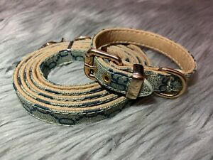 Luxury Gucci Adjustable Leather Small To Medium Pet Collar And Leash