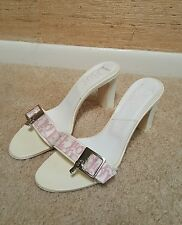 Auth Christian Dior Sandals Slides Heels Shoes Pink White Lock & Keys Size 8.5