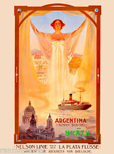 Argentina Brazil South America French Nouveau Travel Advertisement Art Poster