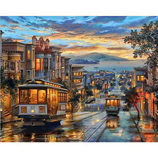 Paint by Number Kit San Francisco Street Cable Car Landscape DIY Oil Painting 20