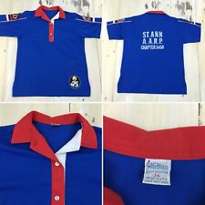 BOWLING SHIRT - Vtg Blue Hilton, St Ann Missouri AARP, Patches, MEDIUM 36