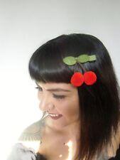 Pince clip cheveux cerises rouges cherries laine original pin-up rétro vintage