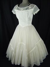 EMMA DOMB Vtg 50s White Floral Lace Tea Length Wedding Party Dress- Bust 39/M