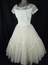 EMMA DOMB Vtg 50s White Floral Lace Tea Length Wedding Party Dress- Bust 39/M