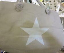 Grand Sac shopping sac de plage Toile étoile beige blanc Sac à main