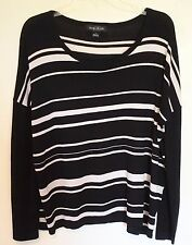 August Silk NEW Scoop Neck Pullover Sweater Top Medium Black Beige Stripe  707