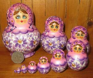Matryoshka Slight Seconds Pink Lilac Nesting Dolls Russian 10 signed SIMAKOVA