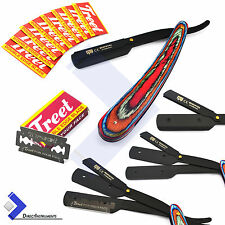 Vintage Multi Color Barber Hair Shaving Razor Straight Folding Knife +10 Blades